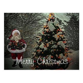 Santa's Forest Christmas Postcard