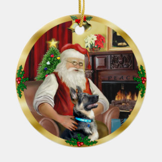 Santa's German Shepherd #15 Christmas Ornament