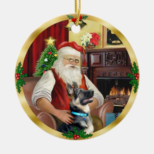 Santa's German Shepherd #15 Christmas Ornament