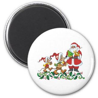Santas Gift 6 Cm Round Magnet