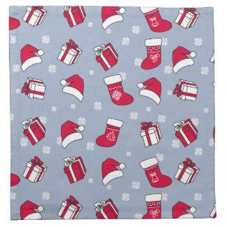 Santa'S Hat And Stockings Printed Napkin