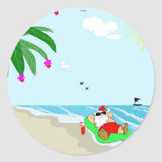 Santa's Hawaiian ChristmasStickers Classic Round Sticker