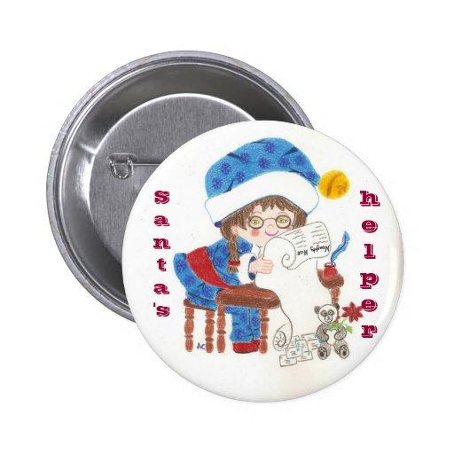 Santa's helper pinback buttons