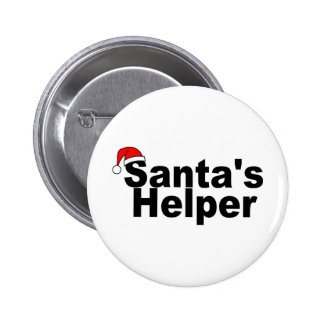 Santas Helper Black 6 Cm Round Badge