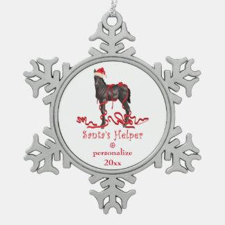 Santa's Helper Christmas Horse Colt Pewter Snowflake Decoration