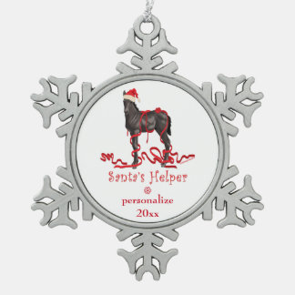 Santa's Helper Christmas Horse Colt Snowflake Pewter Christmas Ornament