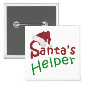 Santa's Helper Christmas Santa Hat Design 15 Cm Square Badge