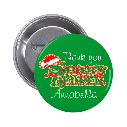 Santa's helper colourful christmas button/badge
