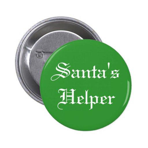 Santa's Helper Green Christmas Holiday Button