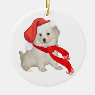Santa's Helper Puppy Poodle / Bichon Mix Christmas Ornament