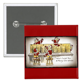 Santa's Helpers on a Switchboard 15 Cm Square Badge