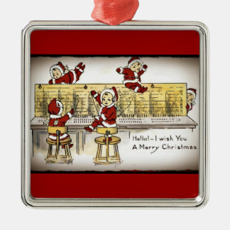 Santa's Helpers on a Switchboard Christmas Ornament
