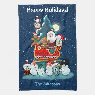 Santa's Holiday Party By The Christmas Tree Tea Towel
