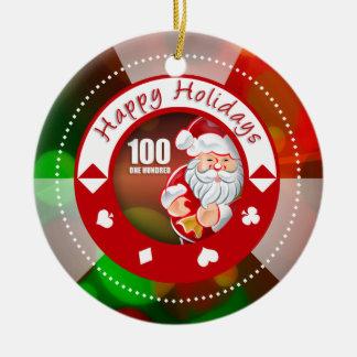 Santa's Holidays $100 Poker Chip Ornament