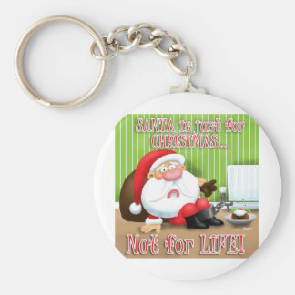 Santa's Just for Christmas Basic Round Button Key Ring