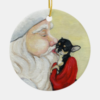 Santa's Kiss for Chihuahua Art Ornament