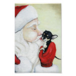 Santa's Kiss for Chihuahua art Print