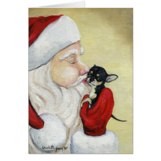 """Santa's Kiss for Chihuahua"" Dog Art Greeting Card"