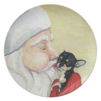 Santa's Kiss for Chihuahua Dog Art Plate