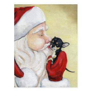 """""""Santa's Kiss for Chihuahua"""" Dog Art Postcard"""