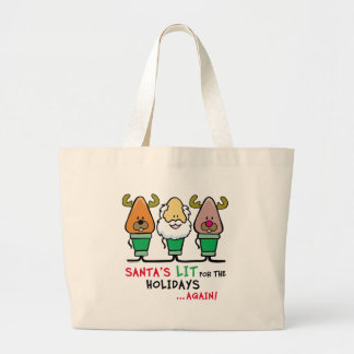 Santa's Lit for the Holidays Canvas Bags