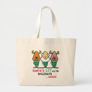 Santa's Lit for the Holidays Jumbo Tote Bag