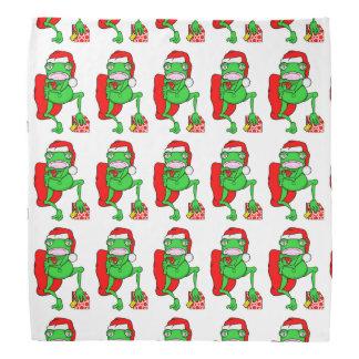 Santas Little Amphipian Helper Funny Frog Head Kerchiefs