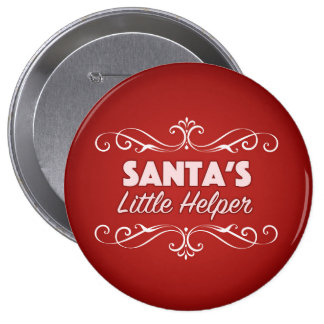 Santa's little helper 10 cm round badge
