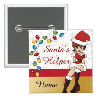 Santa's Little Helper 15 Cm Square Badge