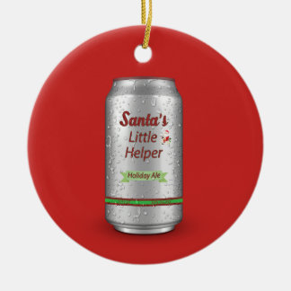 Santa's Little Helper Beer Can Christmas Ornament