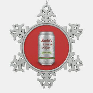 Santa's Little Helper Beer Can Snowflake Pewter Christmas Ornament