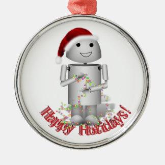 Santa's Little Helper - Cute Robot, Robo-x9 Silver-Colored Round Decoration