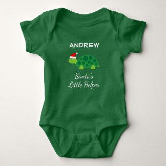Santas little helper green Christmas baby bodysuit