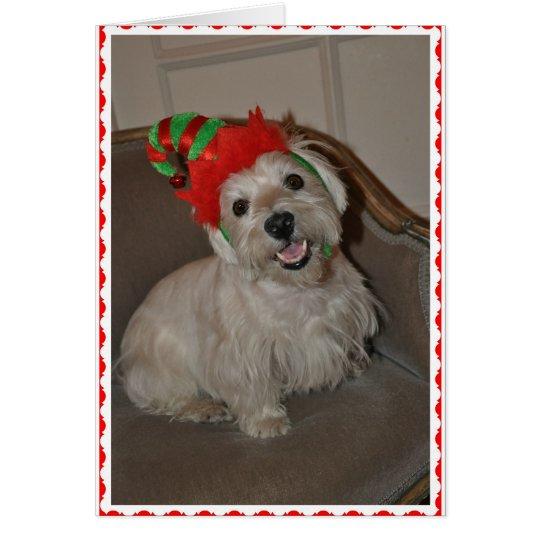 Santa's Little Westie Elf Card