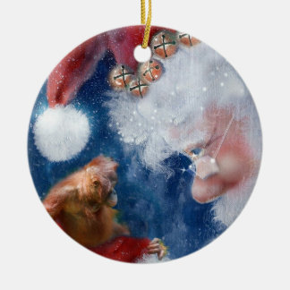 Santa's Monkey Business Charity Round Ceramic Decoration