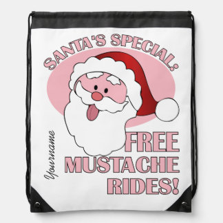 Santa's Mustache Rides custom backbag Drawstring Bag