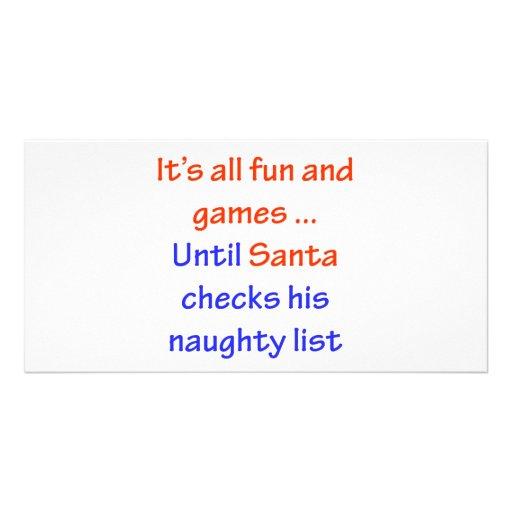 Santa's Naughty List Photo Greeting Card