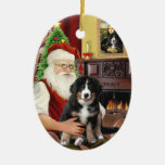 Santas new- Bernese Mountain Dog Puppy (L) Ceramic Oval Decoration