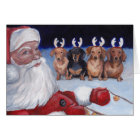 Santa's New Team Dachshund Dog Art Christmas Card