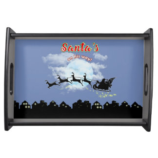 Santas on his way Christmas Holiday Serving Tray