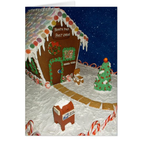 santas post office gingerbread house card