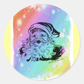Santa's Rainbow Round Sticker