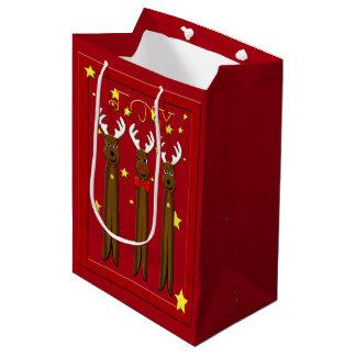 Santa's Reindeer Christmas Med GB Medium Gift Bag