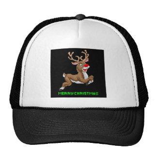Santas Reindeer Christmas Pixel Art Cap