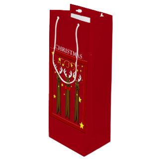 Santa's Reindeer Christmas Wine GB Wine Gift Bag