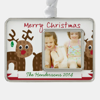 Santa's Reindeer Silver Plated Framed Ornament