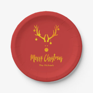 Santa's reindeer Rudolph in faux gold on red Paper Plate