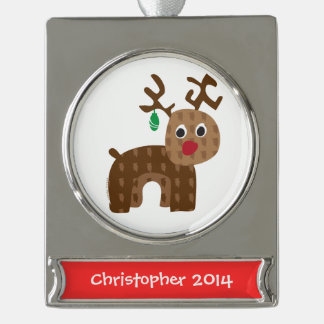 Santa's Reindeer Silver Plated Banner Ornament
