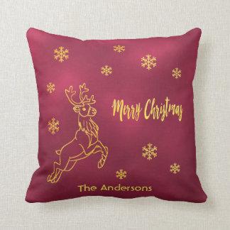 Santa's reindeer snowflakes burgundy and faux gold cushion