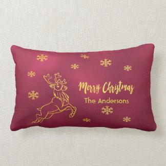 Santa's reindeer snowflakes burgundy and faux gold lumbar cushion